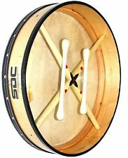 BODHRAN DRUM Irish Celtic 18 Inch Drums + CASE + 2 Tippers NATURAL 001