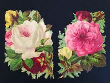 A Large Pair Of Antique Victorian Scrap Roses
