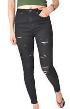 WAKEE ULTRA HIGH BLACK SKINNY LEG JEANS WITH RIPS. SIZE 6 - 16