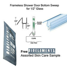 """Shower Door Bottom Seal with Drip Rail for 1/2"""" Glass - 32"""" long w/ Bioelements"""