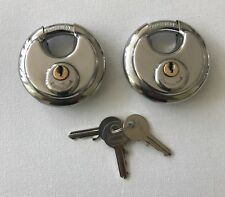 70MM STAINLESS WEATHERPROOF DISC PADLOCK KEYED ALIKE X 2 WITH 3 KEYS