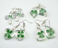 4 pcs four leaf clover natural shamrock mix style earring jewelry