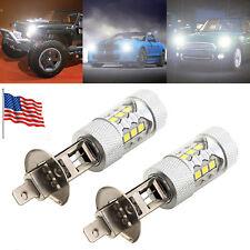 US 2pcs H1 Car 80W LED Projector Fog Light Driving Lamp DRL CANBus Bulb Running