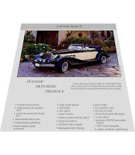 1986 Clenet Cabriolet Series II Original 1-page Car Brochure Card - 1985