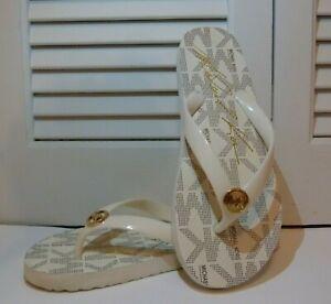 Michael Kors Vanilla Signature Flip Flop Thong Sandals sz 6