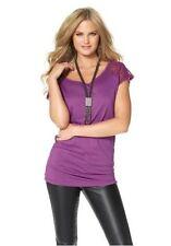 Damen-Shirts mit Rundhals-Ausschnitt aus Viskose ohne Muster