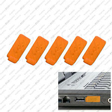 5 x Orange Color RUBBER SILICONE ANTI-DUST USB PLUG COVER STOPPER for PC Laptop