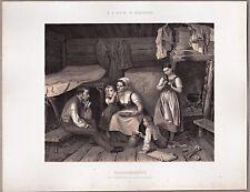 Grafik, Holzschläger, Holzfäller, Samland, Litauen. Lithographie 1866
