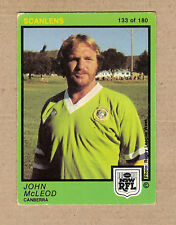 1982  CANBERRA RAIDERS  SCANLENS RUGBY LEAGUE CARD  #133  JOHN McLEOD