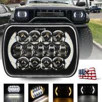 120W CREE 7''x6'' LED Headlight Hi-Lo Beam Halo DRL Bulb For Jeep XJ H6014/H6054