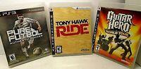 3 PS3 GAMES Tony Hawk Ride, Pure Futbol Authentic Soccer, Guitar Hero World Tour