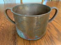 """Solid Copper BEER CUP 6"""" Dia Double Handle 4-3/8 Tall Kitchen Cook Decor Vintage"""