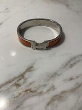 Hermes H Orange Enamel bracelet Sz PM