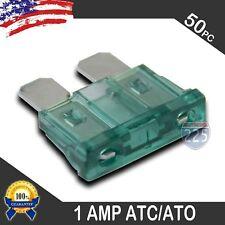 50 Pack 1 AMP ATC/ATO STANDARD Regular FUSE BLADE 1A CAR TRUCK BOAT MARINE RV US