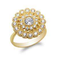 10K/14K Yellow Gold Flower Pattern Halo Band Ring Size 4-10