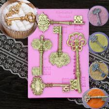 3D Vintage Key Frame Silicone Mould Cake Fondant Baking Decor Mold New