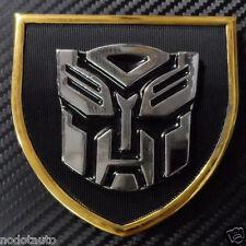 Car Transformers Silver Autobot w/ Black Metal Front Grille Fender Emblem Badge