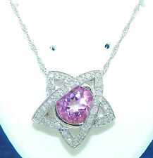 4.45ct PINK TOPAZ & .28ct DIAMOND PENDANT WITH CHAIN REAL SOLID 10 kw GOLD 4.9 g