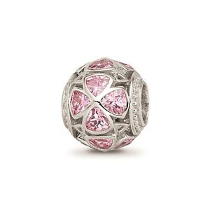 Reflection Beads Sterling Silver Pink CZ Floral Flowers Round Bead