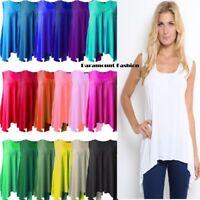 Womens Hanky Hem Ladies Sleeveless Scoop Neck Jersey Long Tunic Vest Top 8-26