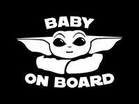 Baby Yoda on Board Star Wars Car sticker decal child on board safety Starwars