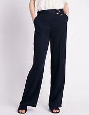 Wide Leg Linen Blend High Rise Trousers for Women