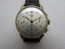 Vintage Heuer 3 Register Chronograph 18k Yellow GOLD Swiss Valjoux 72 Men Watch