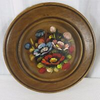 Vtg Franco Italy Wooden Wood Hand Painted Decorative Tray Plate Floral Toleware