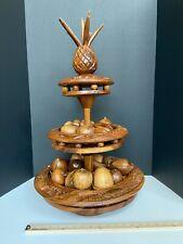 Cool Mid Century Leilani Monkey Pod Wood Rotating Stand, Bowls & 17 Fruit