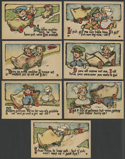 Seven c.1910-13 Postcards DUTCH KIDS IN WOODEN SHOE AUTOMOBILES with Captions