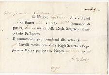 T699-PASSAPORTO- DA NAPOLI A MILANO 1796
