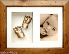 New Baby Girl Boy Gift 3D Casting Cast Kit Hand Feet Gold Rustic Frame Baptism