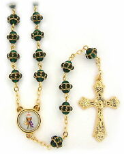 """NEW MADE IN ITALY GREEN GLASS  GOLD """"MEDIEVAL"""" STYLE BEAD ROSARY CHALICE CENTER"""