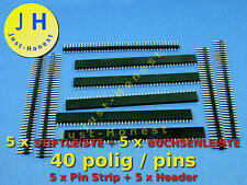 Stk.5x boccole barra 40 poli +5x penna barra 40 poli KIT intestazione/pin strip #a321
