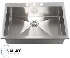 36 Inch Top-Mount / Drop-In Stainless Steel Single Bowl Kitchen Sink Zero Radius