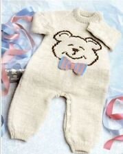 KNITTING PATTERN - ADORABLE BABY'S ALL-IN-ONE TEDDY MOTIF ROMPER SUIT 3 SIZES