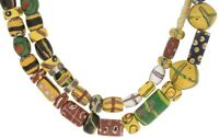 NICE MIX STRAND OF DIFFERENT OLD VENETIAN GLASS BEADS AFRICAN TRADE