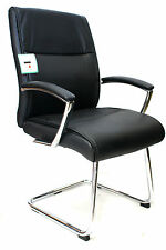 Lima Black Leather Faced Visitor Guest Reception Meeting Room Chair Graded 95%