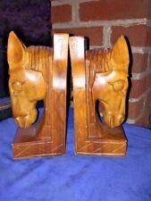 Antique Primitive HORSE HEAD Donkey HAND CARVED BOOKENDS Set ART DECO 7.5/3.5 ❤️