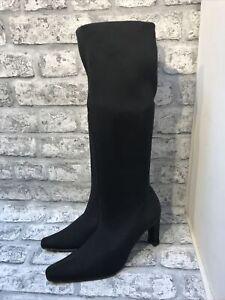 LADIES BLACK ELASTICATED HIGH HEEL SLIM FIT BOOTS SIZE 5 UK 38 EUR