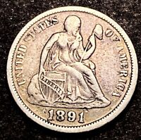 1891 Seated Liberty Dime 10c Obsolete Type Coin One Dime Full Liberty