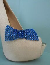 2 Blue Diamante Style Bow Clips for Shoes