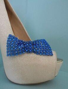 2 Blue Diamante Style Bow Shoe Clips