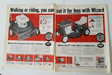 1966 Western Auto wizard 20 Push 25 riding Rider lawn mower 2 page ad