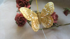 Gold Feather Butterfly with Glitter - 10.0cm wingspan