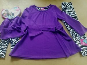 WHAT A DOLL 2PC PURPLE ANIMAL PRINT LEGGINGS  OUTFIT + OUTFIT FOR A DOLL (4/5)