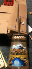 Lancaster Amish Painted Wood Decor Butter Churn Country Landscape Signed Ginny