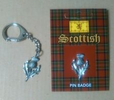 Scottish Thistle Silver Pewter Keyring And Pin Badge Gift Set