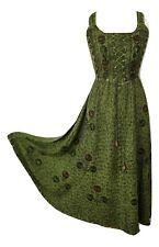 Summer Maxi Dress Empire Waist Viscose Fit Flare Henna Green One size 14 16 18
