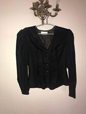 Vintage Black Velvet V-neck Blouse, Size 12, Goth Vampire 80's Retro Romantic